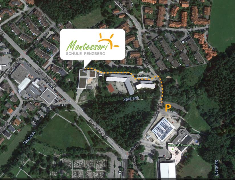 Zufahrt über die Birkenstraße und  Parken am Schwimmbad/Turnhallenparkplatz